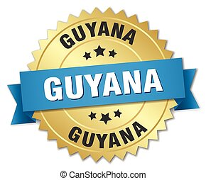 Guyana round golden badge with blue ribbon