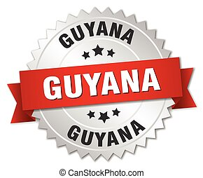 Guyana round silver badge with red ribbon