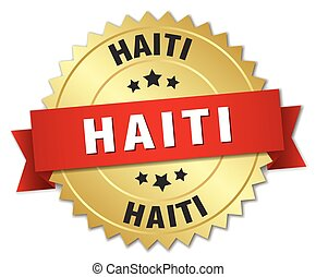 Haiti round golden badge with red ribbon