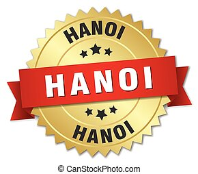 Hanoi round golden badge with red ribbon