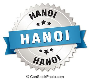 Hanoi round silver badge with blue ribbon
