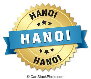 Hanoi round golden badge with blue ribbon