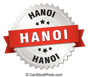 Hanoi round silver badge with red ribbon