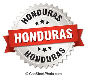 Honduras round silver badge with red ribbon