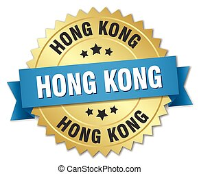 Hong Kong round golden badge with blue ribbon