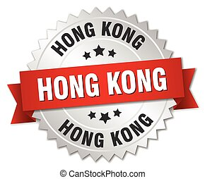 Hong Kong  round silver badge with red ribbon