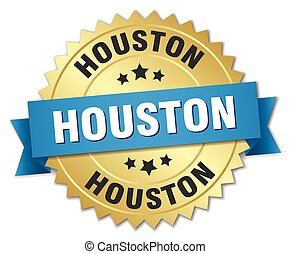 Houston round golden badge with blue ribbon
