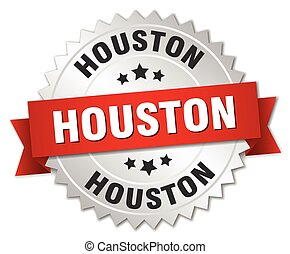 Houston round silver badge with red ribbon