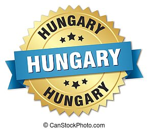 Hungary round golden badge with blue ribbon