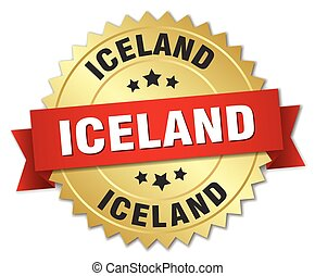 Iceland round golden badge with red ribbon