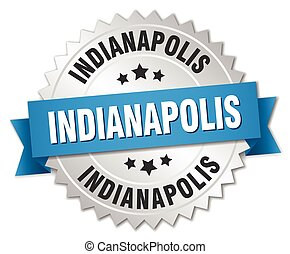 Indianapolis round silver badge with blue ribbon
