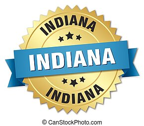 Indiana round golden badge with blue ribbon