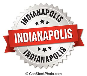 Indianapolis round silver badge with red ribbon