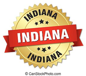Indiana round golden badge with red ribbon