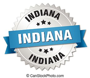 Indiana round silver badge with blue ribbon
