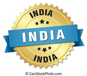 India round golden badge with blue ribbon