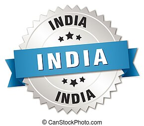 India round silver badge with blue ribbon