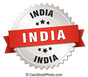 India round silver badge with red ribbon