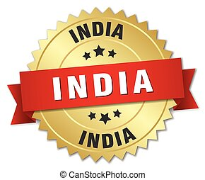 India round golden badge with red ribbon