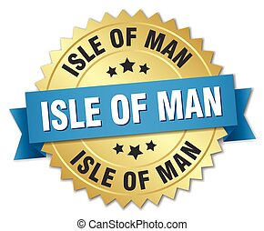 Isle Of Man round golden badge with blue ribbon