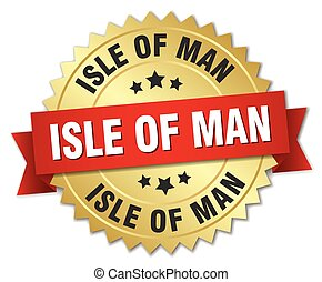 Isle Of Man round golden badge with red ribbon