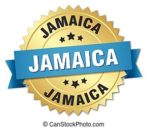Jamaica round golden badge with blue ribbon
