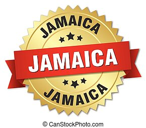 Jamaica round golden badge with red ribbon
