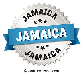 Jamaica round silver badge with blue ribbon