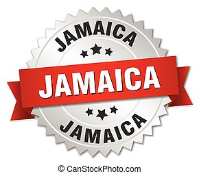 Jamaica  round silver badge with red ribbon
