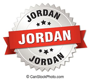 Jordan round silver badge with red ribbon