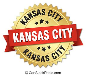 Kansas City round golden badge with red ribbon