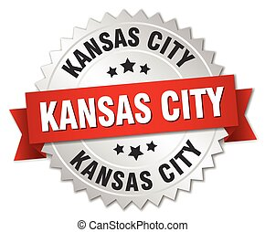Kansas City round silver badge with red ribbon