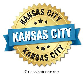 Kansas City round golden badge with blue ribbon