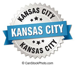 Kansas City round silver badge with blue ribbon