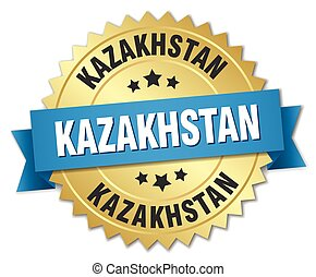 Kazakhstan round golden badge with blue ribbon
