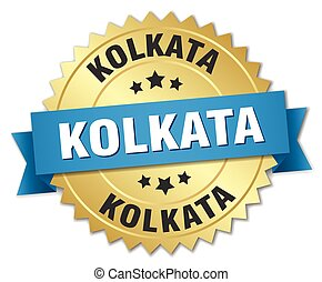 Kolkata round golden badge with blue ribbon