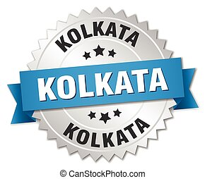Kolkata round silver badge with blue ribbon