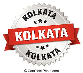 Kolkata round silver badge with red ribbon