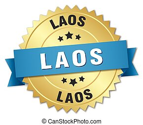 Laos round golden badge with blue ribbon