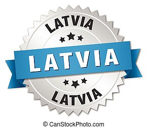 Latvia round silver badge with blue ribbon