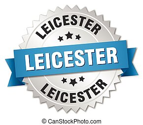 Leicester round silver badge with blue ribbon