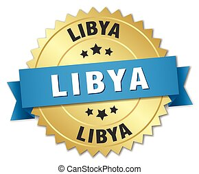 Libya round golden badge with blue ribbon
