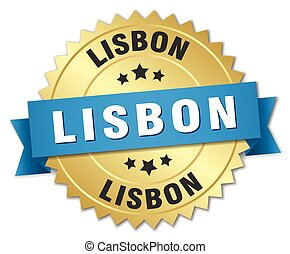 Lisbon round golden badge with blue ribbon