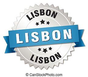 Lisbon round silver badge with blue ribbon