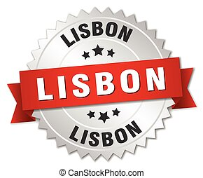 Lisbon round silver badge with red ribbon