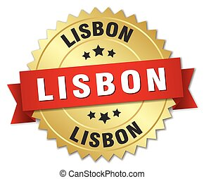 Lisbon round golden badge with red ribbon