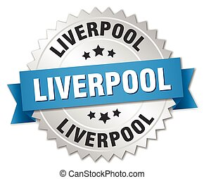 Liverpool round silver badge with blue ribbon