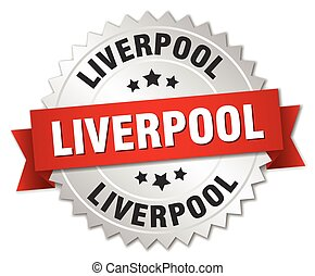 Liverpool  round silver badge with red ribbon