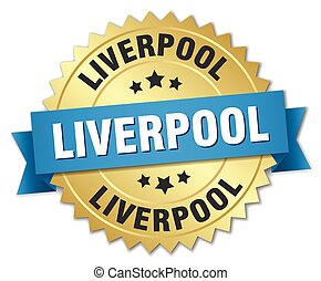 Liverpool round golden badge with blue ribbon