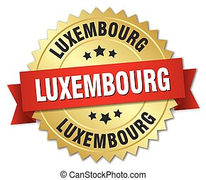 Luxembourg round golden badge with red ribbon